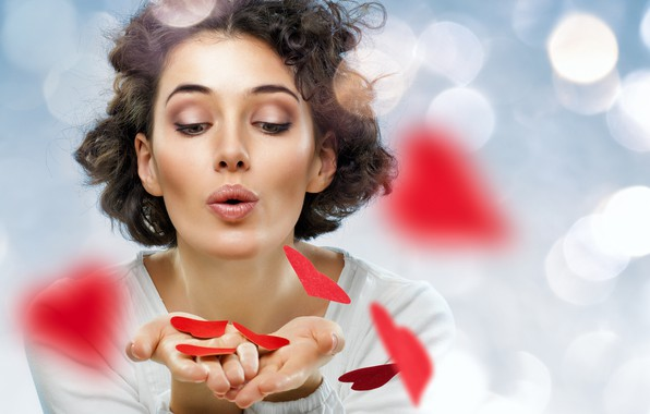 Picture glare, background, makeup, hairstyle, hearts, red, brown hair, beauty, Valentine's day