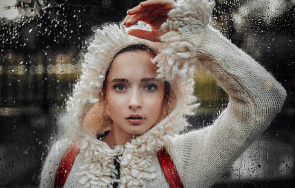 Picture look, glass, drops, face, rain, mood, hand, hood, jacket, Faith, Hakan Erenler