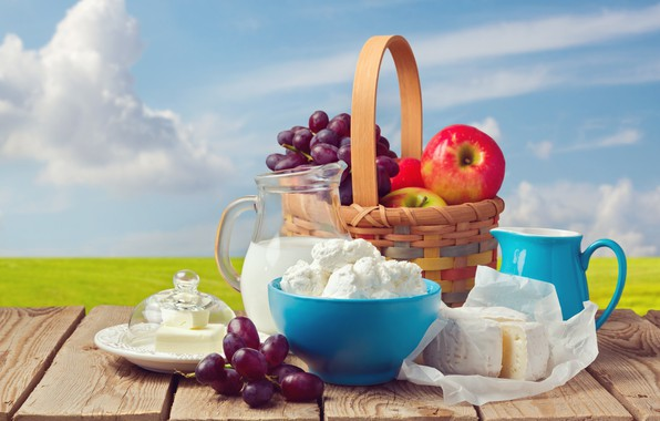 Picture field, the sky, the sun, clouds, landscape, table, background, basket, apples, Board, oil, cheese, milk, …