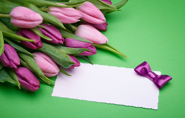 Picture bouquet, gifts, tulips, love, pink, bow, fresh, pink, flowers, romantic, tulips, gift, purple