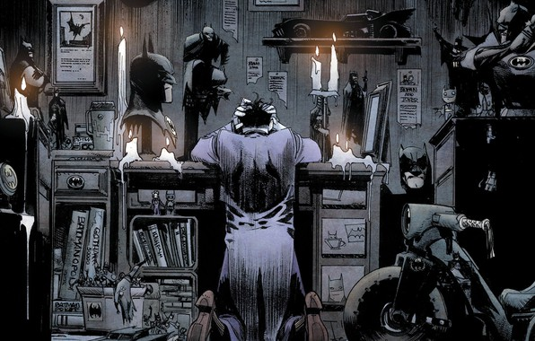 Picture fantasy, Batman, Joker, comics, bad, artwork, candles, mask, superhero, fantasy art, books, DC Comics, hood, …