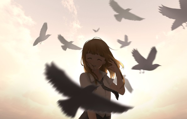 Picture the sky, girl, clouds, sunset, birds, smile, anime, art, form, schoolgirl, ying yue