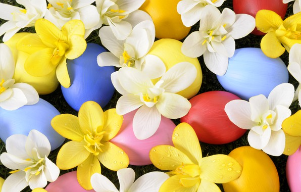 Picture flowers, holiday, eggs, spring, Easter, grass, weed, flowers, spring, Easter, eggs, holiday