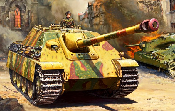 Picture Germany, Painting, SAU, Jagdpanther, The second World war, WW2, class tank destroyers