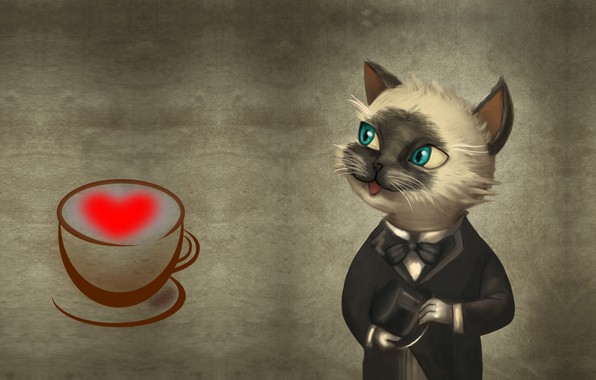 Picture cat, hat, art, romantic, Alfred, Tariq Viana
