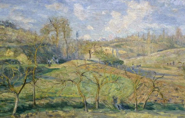 Picture landscape, nature, picture, spring, Camille Pissarro, March Sun. PONTOISE.