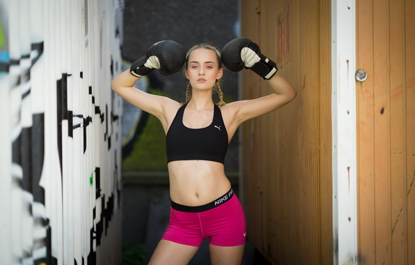 Picture girl, style, model, figure, Sarah, legs, Boxing gloves