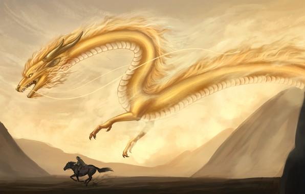 Picture sand, mountains, yellow, animal, dragon, horse, fantasy, art, rider, flies