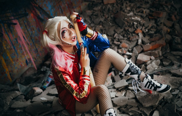 Picture look, face, style, the ruins, legs, Asian, baseball bat