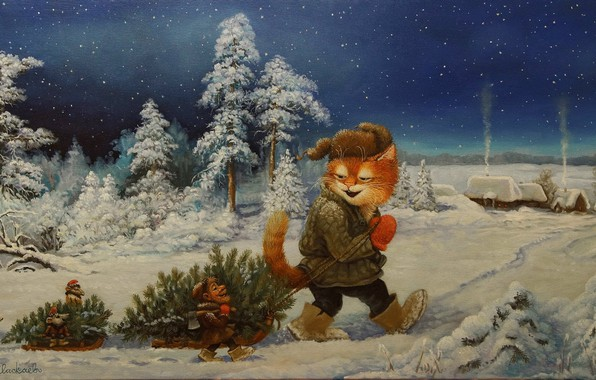Picture winter, cat, holiday, figure, tale, art, New year, tree, friends, children's, Tales of the cat …