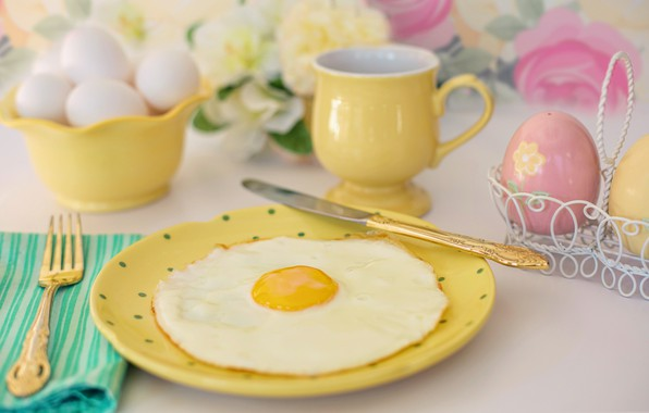 Picture Breakfast, plate, knife, Cup, plug, scrambled eggs
