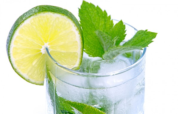 Picture glass, ice, slice, leaf, lime, drink, mint, lemonade, Mojito