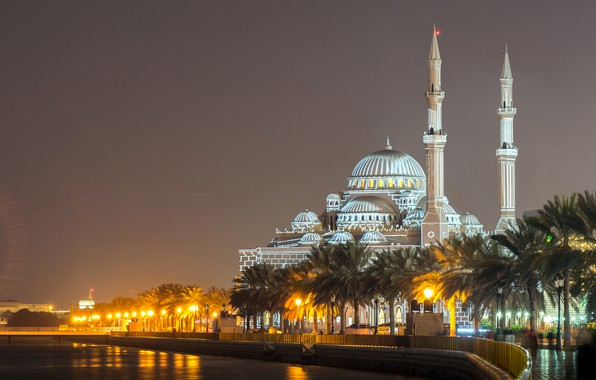 Picture night, lights, river, palm trees, lights, temple, mosque, Palace, UAE, Al Noor Mosque, Sharjah