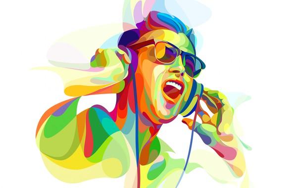 Picture DJ, headphones, disco, low poly