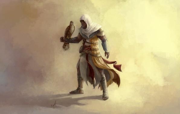 Picture eagle, hood, killer, art, assassin's creed, origins, protagonist, Assassin's Creed: Origins, Bayek