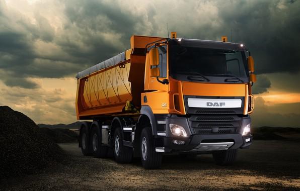 Picture the sky, orange, clouds, tent, body, breed, DAF, DAF, dump truck, 8x4, Euro6, DAF CF …