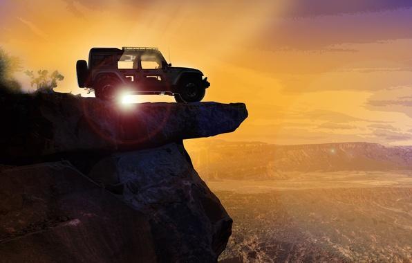 Photo wallpaper car, sky, landscape, Jeep, montain, vale, Jeep Easter Safari