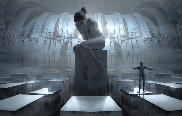 Picture girl, light, space, future, rendering, emotions, grey, fiction, design, woman, silver, people, despair, structure, technology, …