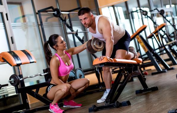 Photo Wallpaper Woman Men Workout Fitness Gym Training