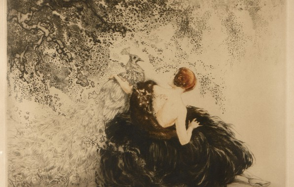 Picture 1923, Louis Icart, art Deco, etching and aquati, White peacock