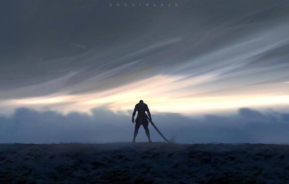 Picture sword, fantasy, sky, weapon, clouds, men, digital art, artwork, warrior, fantasy art, Ghost blade, WLOP