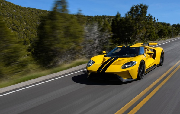 Picture car, Ford, Ford GT, yellow, race, speed, fast