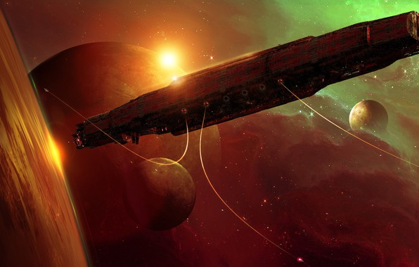 Picture space, planet, ship, stars, Gateway early concept art for the mmo