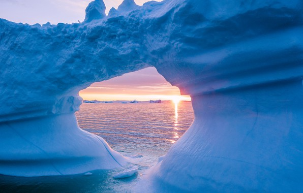 Picture ice, winter, sea, the sky, water, the sun, snow, landscape, nature, blue, dawn, ice, morning, …