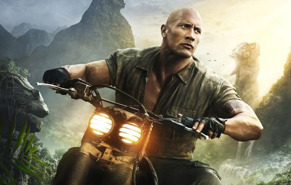 Picture mountains, background, rocks, waterfall, jungle, fantasy, motorcycle, gloves, shirt, adventure, poster, Dwayne Johnson, headlights, Dwayne …