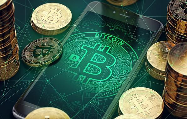 Picture money, phone, bitcoin