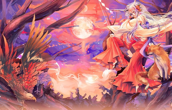 Picture eagle, wings, horns, the full moon, priestess, on the tree, Japanese clothing, Fox, tail, kitsune