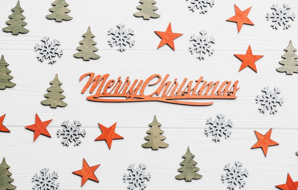 Picture tree, new year, Christmas, snowflake, asterisk, merry christmas, wooden background