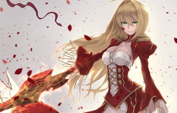 Picture girl, petals, the saber, Fate / Grand Order