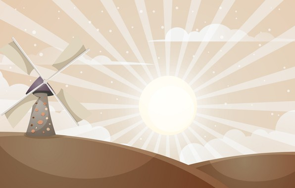 Picture The sun, Mill, Rendering