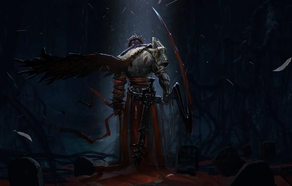 Picture dark, sword, blood, fantasy, armor, Warrior, night, wings, cross, crown, cemetery, weapons, artwork, fantasy art, …