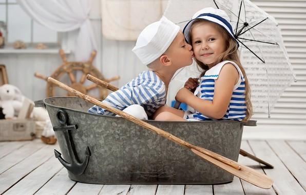 Picture umbrella, the game, boy, girl, sitting, iron trough