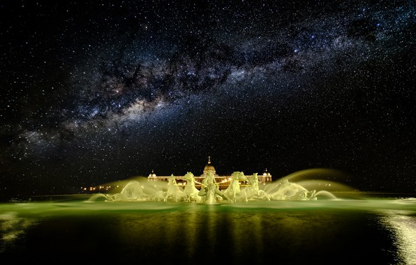 Picture stars, night, fountain, the milky way