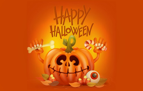 Picture smile, holiday, hands, pumpkin, Halloween