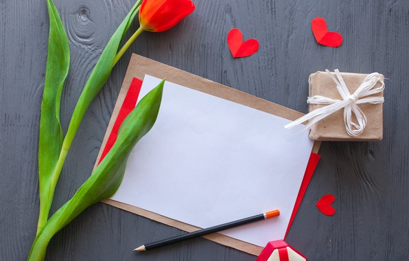 Picture flowers, red, gift, hearts, tulips, red, wood, flowers, romantic, hearts, tulips, gift, valentine