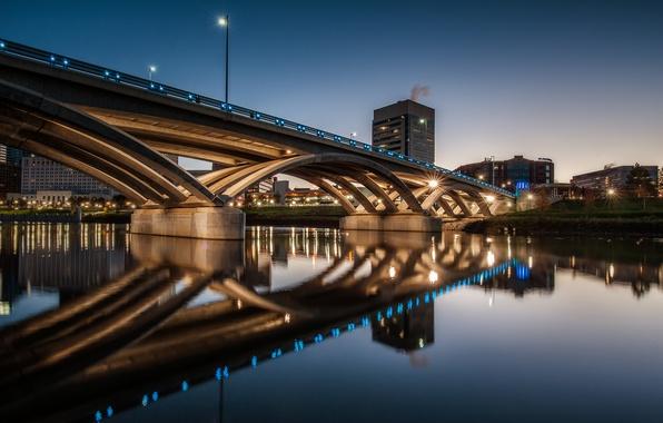 Picture night, bridge, lights, USA, Columbus