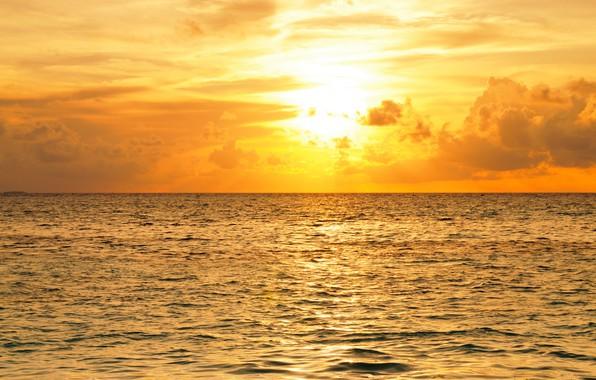Picture sea, the sky, the sun, clouds, horizon, glow, The Maldives