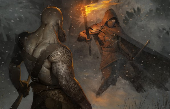 Picture meeting, torch, Illustration, Fight in the forest, Stanislav Dikolenko