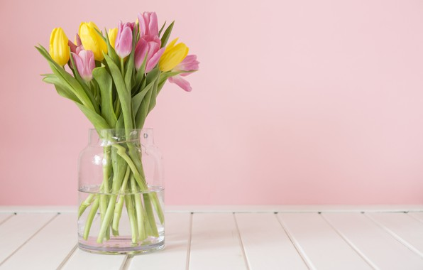 Picture table, spring, tulips, vase, pink background, yellow tulips, pink tulips