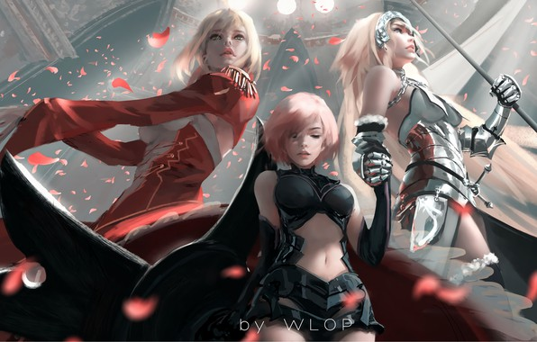 Picture armor, girls, anime, art, painting, digital art, petals, artwork, warrior, spear, Fate/Grand Order, WLOP, Joan …