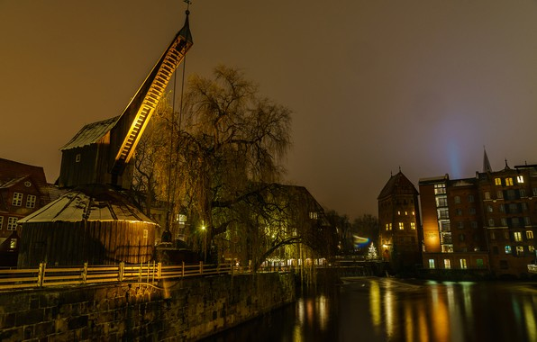 Picture trees, night, lights, river, home, Germany, lights, channel, Saxony, Luneburgo