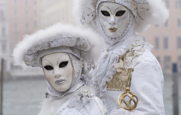 Picture white, pair, carnival, mask, costumes