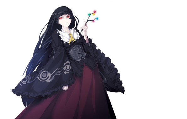 Picture sprig, white background, corset, black dress, red eyes, long hair, art, ruffles, Touhou Project, crinoline, …
