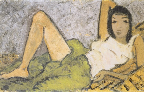 Picture girl, brunette, 1914, Expressionism, Otto Mueller, Lying Girl -