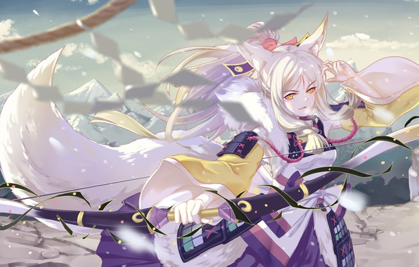 Picture look, girl, pose, weapons, art, Onmyouji, shan-n
