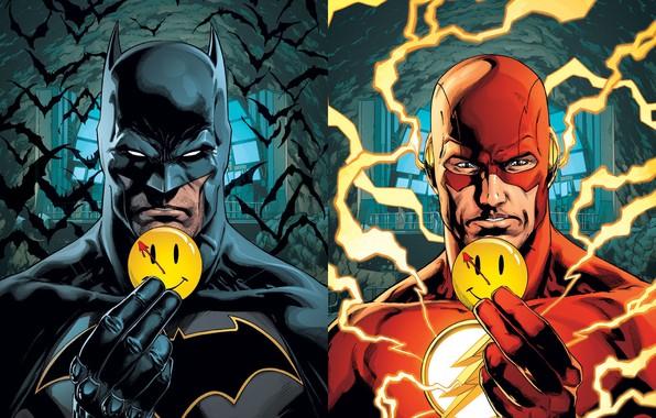 Picture batman, zipper, icon, Batman, cave, bats, smiley, the flash, DC Comics, flash